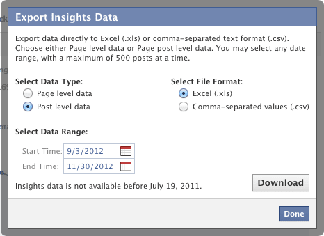 Facebook Insights Post Level Export