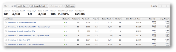 Facebook Ad Campaign Performance