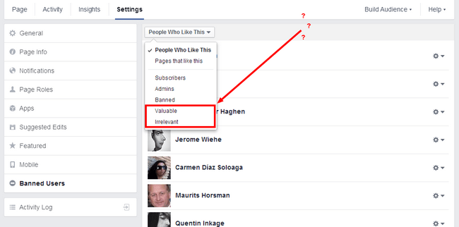 valuable irrelevant users on Facebook