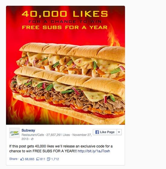 One of Subway's most viral posts ever was a contest