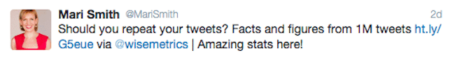Mari Smith adds short comments to her retweets