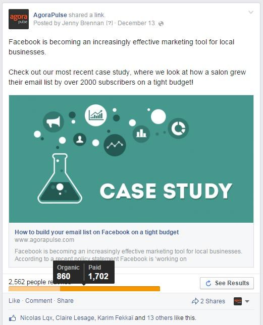 facebook post case study