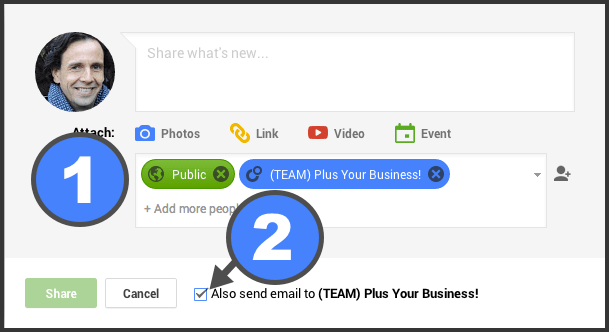 Build opt in lists on Google+