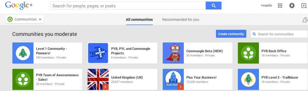 Google+ Communities list