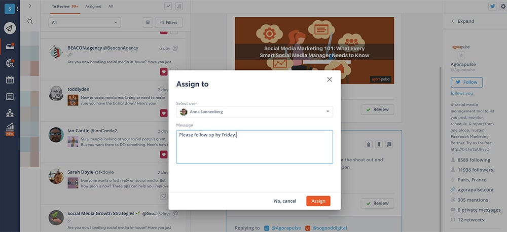 assigning replies via with twitter management tools