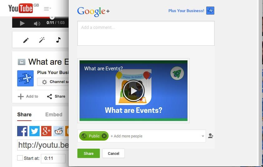 youtube and google+