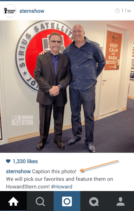 Howard Stern on Instagram Post with Question