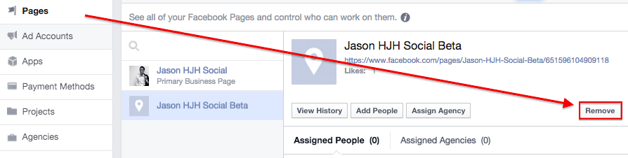 Facebook Business Manager remove page
