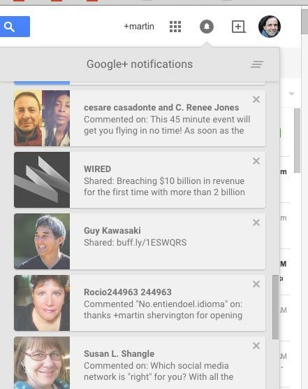 when people are notified on G+