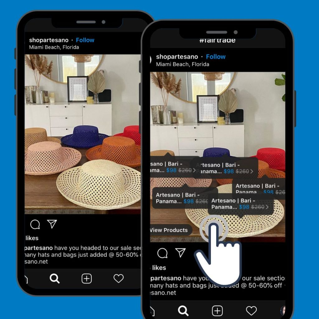 options for product when selling on instagram