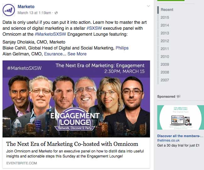 Facebook Page Post Event Marketing
