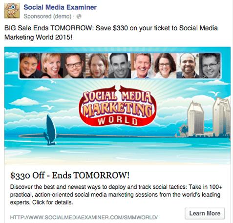 Facebook Ad for Social Media Marketing World
