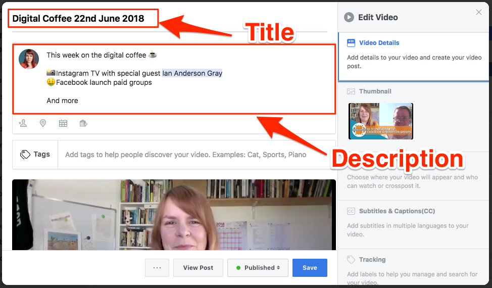 Add a title and description to your Facebook video