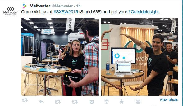 Meltwater using Twitter images to introduce us to their #SXSW team.