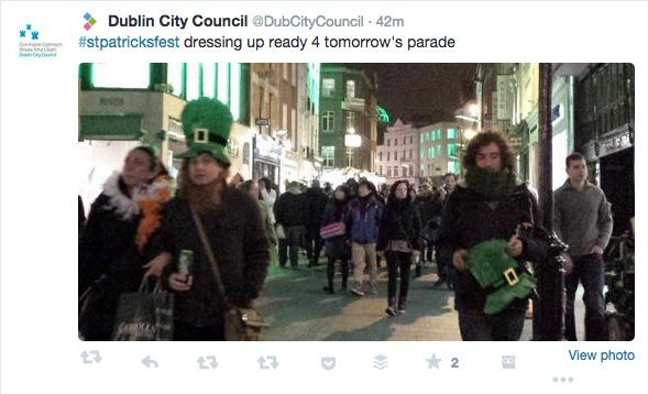 Dublin City Council used Twitter images to promote the St. Patrick's Day festival