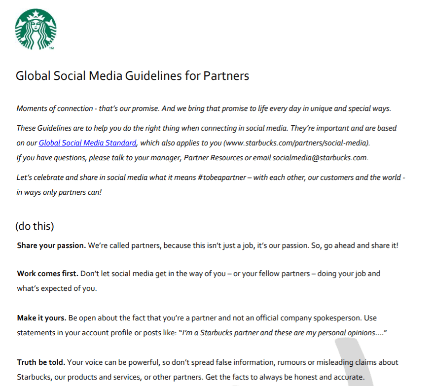 social media guidelines example
