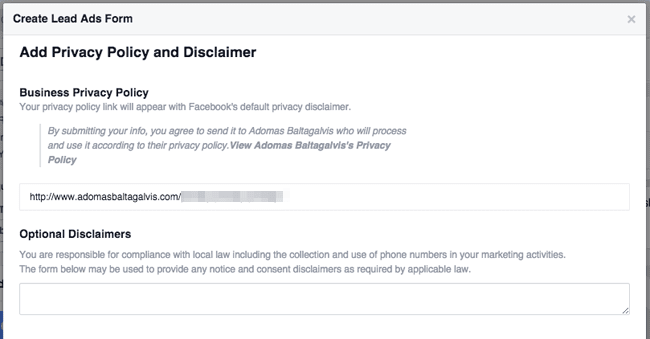Facebook Lead Ads form - Add Privacy Policy and Optional Disclaimer