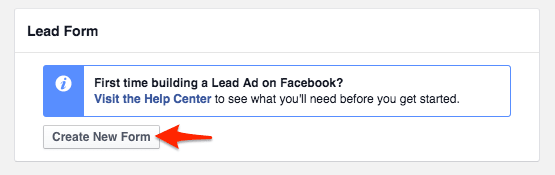 How to create a new Lead Form in Facebook Power Editor