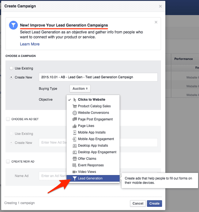 How to create a new lead generation campaign in Facebook Power Editor