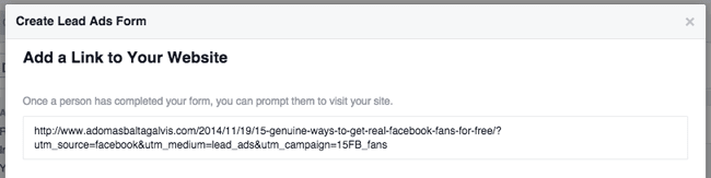 Lead Ads on Facebook - adding a link to your website