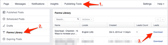 Retrieve your Facebook leads and edit lead forms in Forms Library