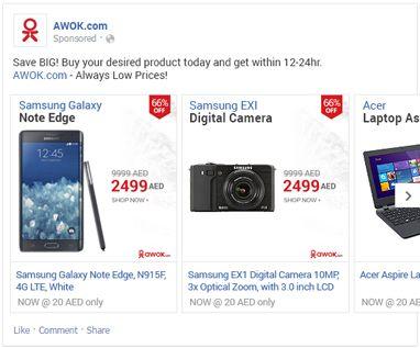 Facebook dynamic retargeting case study - Awok - increasing sales