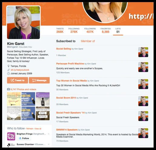 Here are some of Kim Garst's Twitter lists that you can subscribe to rather than starting from scratch.