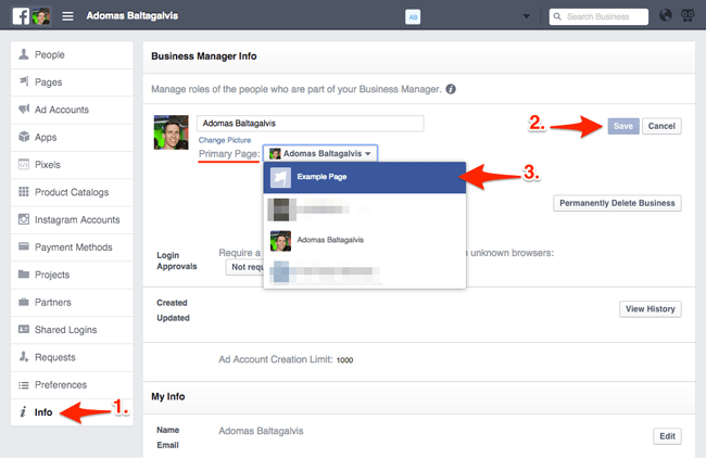 Changing the primary Facebook page on a Business Manager account