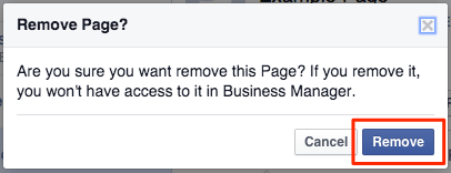 Confirm to remove a Facebook page from Business Manager
