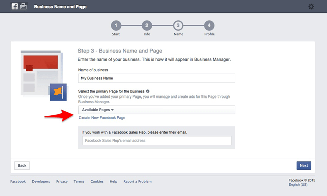 Choose the primary page for your Facebook Business Manager account