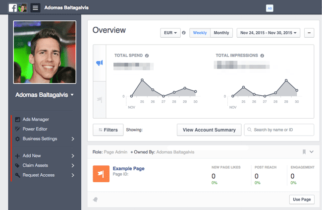 Facebook Business Manager dashboard and sidebar navigation with settings