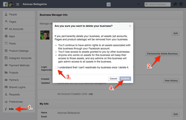 Deleting a Facebook Business Manager account permanently