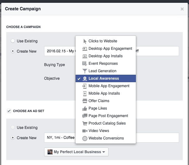 How to create a Facebook Local Awareness ad campaign