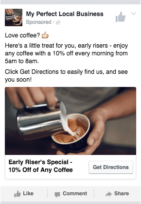 Example of a Facebook ad for a local business