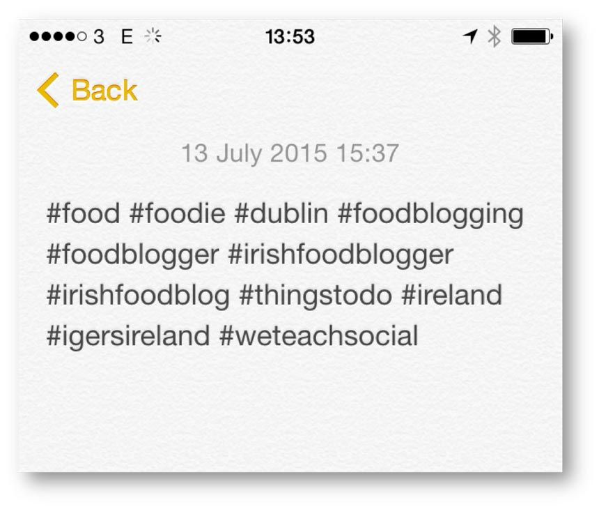 save hashtags to notes