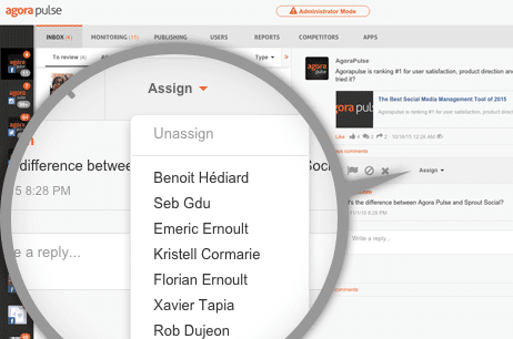 agorapulse dashboard screenshot showing that you can assign posts to different people on the team