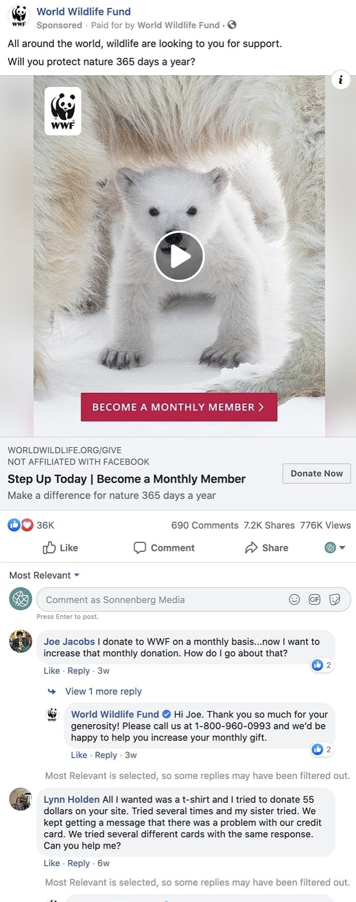 example of facebook ad comments