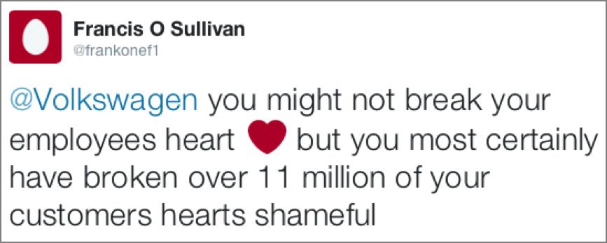Tweet from Francis O Sullivan about Volkswagen