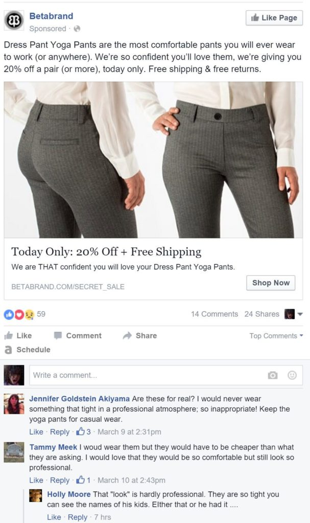 Facebook dark post comments screenshot of what not to do with comments