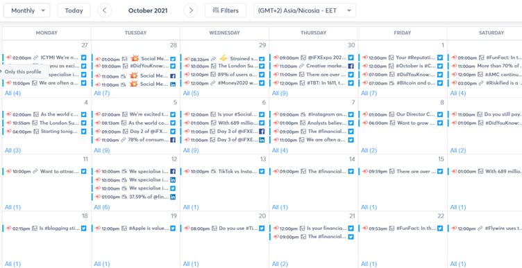 agorapulse content calendar screenshot