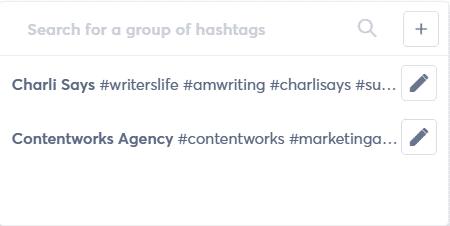 hashtag groups in agorapulse social media management solution screenshot