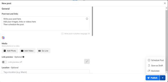 screenshot of agorapulse for scheduling facebook posts