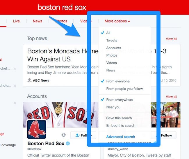 Twitter search: more options