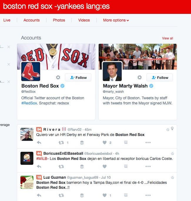 Twitter Search: Boston Red Sox tweets in spanish