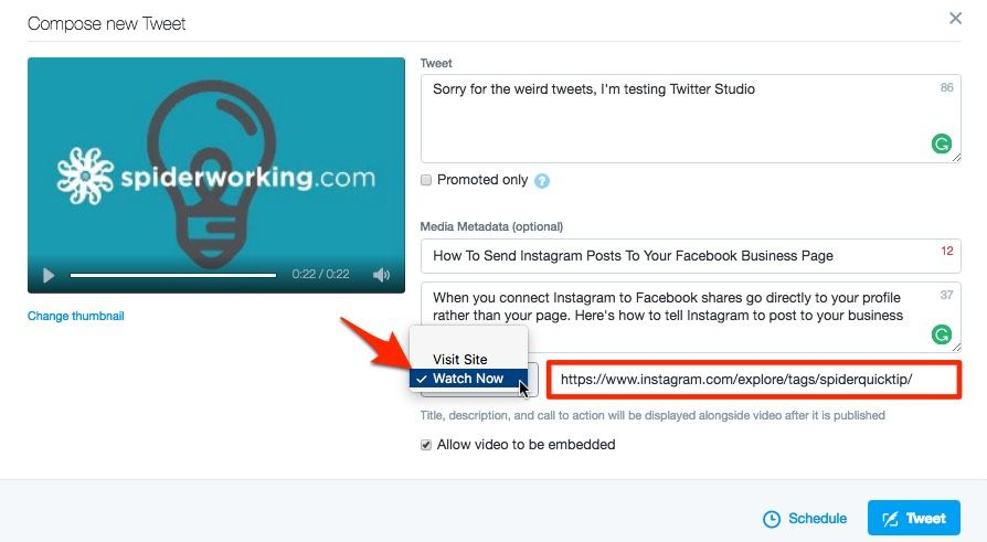 Add a call to action to your video posts