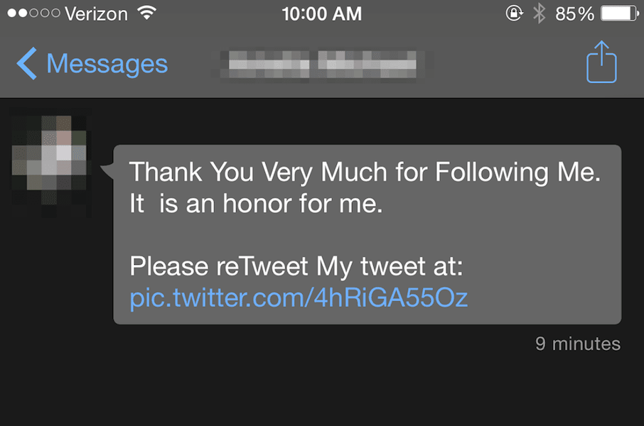 example of an automated tweet