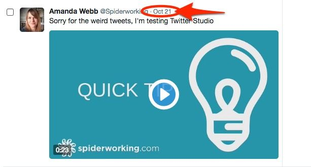 Click the time stamp from the dark tweet in Twitter ads manager