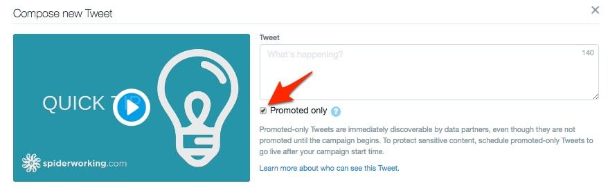 Create dark posts for ads by clicking 'promoted only'