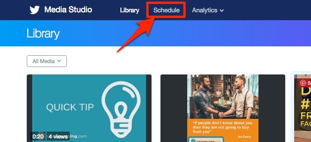 View scheduled tweets by clicking 'schedule'
