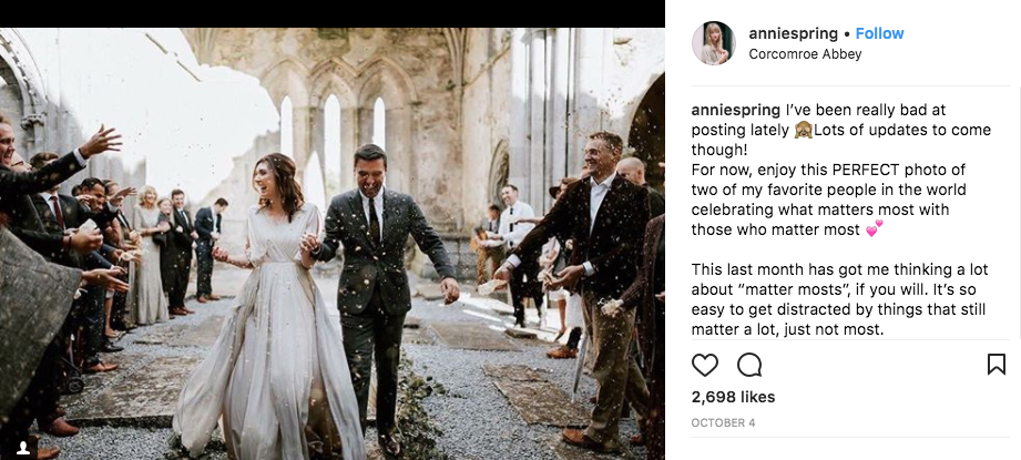 Instagram image of a bride and groom by Annie Spring